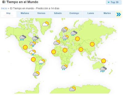 Mapa Del Tiempo En El Mundo.Prevision Meteorologica